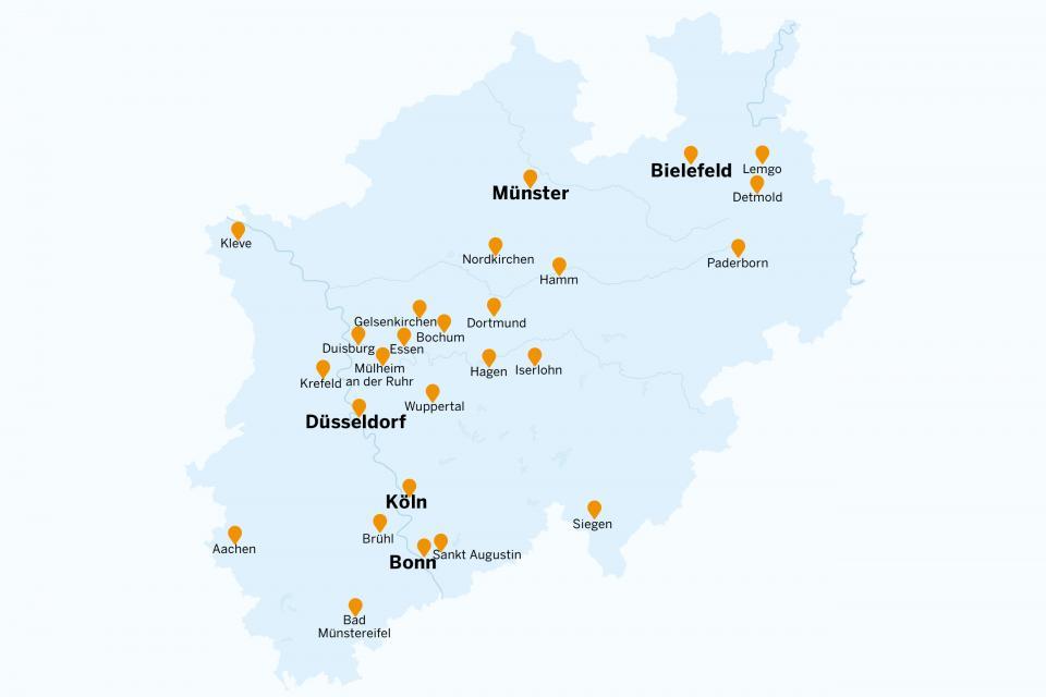 Karte Ruhrgebiet Städte.Hochschulen In Nordrhein Westfalen Kultur Und Wissenschaft In